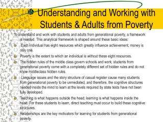 Understanding and Working with Students  Adults from Poverty