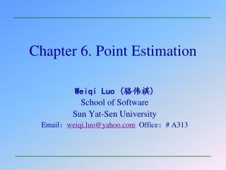 Chapter 6. Point Estimation