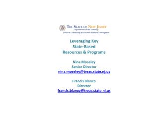 Leveraging Key  State-Based  Resources & Programs Nina Moseley Senior Director