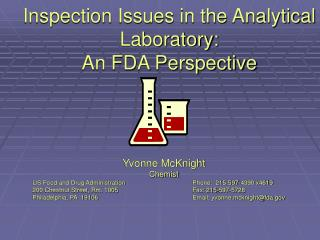 Inspection Issues in the Analytical Laboratory: An FDA Perspective