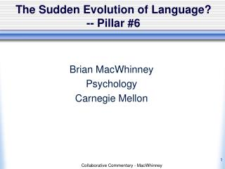 The Sudden Evolution of Language? -- Pillar #6