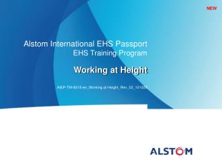 Alstom  International EHS Passport EHS Training Program Working at Height