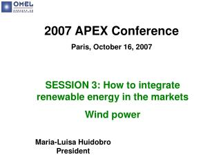 2007 APEX Conference Paris, October 16, 2007