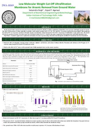 Low Molecular Weight Cut-Off Ultrafiltration Membrane for Arsenic Removal from Ground Water