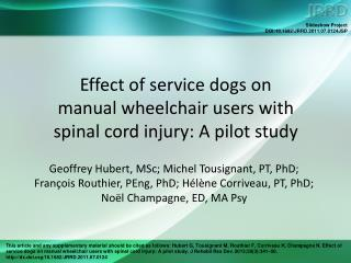 Effect of service dogs on  manual wheelchair users with  spinal cord injury: A pilot study