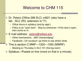 Welcome to CHM 115
