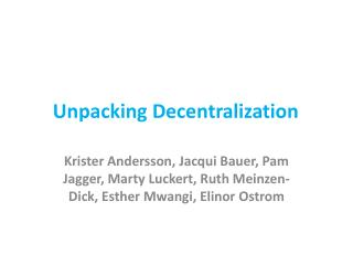 Unpacking Decentralization