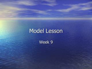 Model Lesson