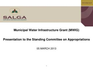 Municipal Water Infrastructure Grant (MWIG)