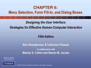 CHAPTER 6: Menu Selection, Form Fill-In, and Dialog Boxes