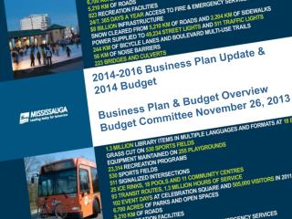 2014-2016 Business Plan Update & 2014 Budget  Business Plan & Budget Overview