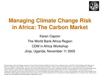 Managing Climate Change Risk in Africa: The Carbon Market