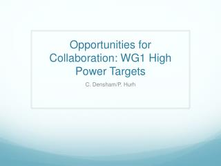 Opportunities for Collaboration: WG1 High Power Targets