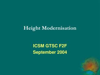 Height Modernisation