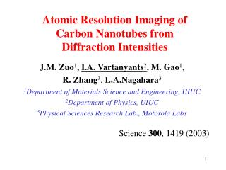 Atomic Resolution Imaging of  Carbon Nanotubes from  Diffraction Intensities