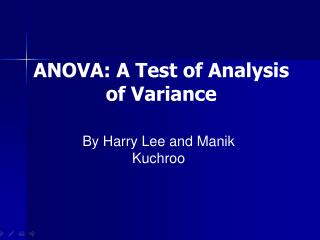 ANOVA: A Test of Analysis of Variance