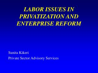 LABOR ISSUES IN  PRIVATIZATION AND ENTERPRISE REFORM