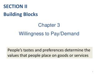 Chapter 3 Willingness to Pay/Demand