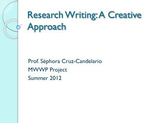 Research Writing: A Creative Approach