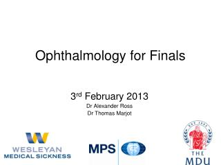 Ophthalmology for Finals