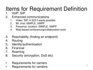 Items for Requirement Definition