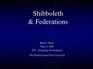 Shibboleth & Federations