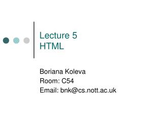 Lecture 5  HTML