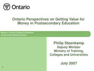 Ontario Perspectives on Getting Value for Money in Postsecondary Education