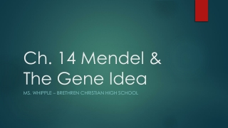 Mendel and The Gene Idea Chapter 14