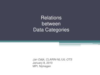 Relations between  Data Categories