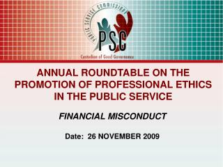 ANNUAL ROUNDTABLE ON THE PROMOTION OF PROFESSIONAL ETHICS IN THE PUBLIC SERVICE