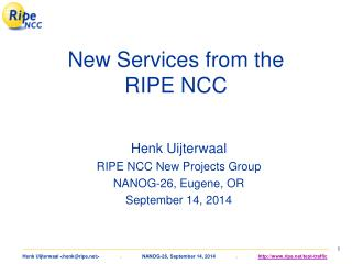 New Services from the RIPE NCC