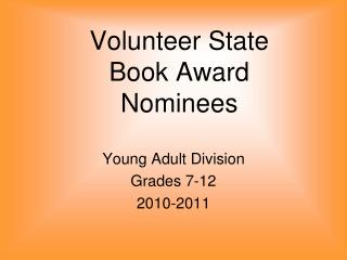 Volunteer State  Book Award Nominees