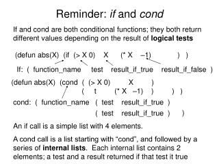 Reminder:  if  and  cond