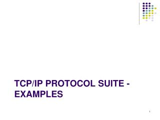 TCP/IP Protocol Suite - examples