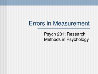 Errors in Measurement