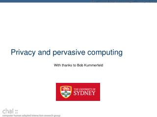 Privacy and pervasive computing