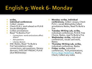 English 9: Week 6- Monday