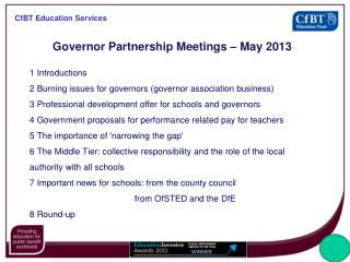 Governor Partnership Meetings – May 2013
