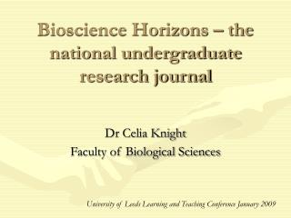 Bioscience Horizons – the national undergraduate research journal