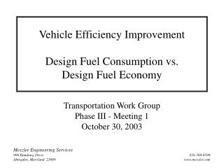 Vehicle Efficiency Improvement Design Fuel Consumption vs.  Design Fuel Economy