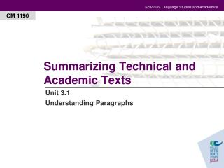 Summarizing Technical and Academic Texts