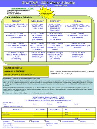GYMTIME – 2014 Winter Schedule gymtimeplace          (914) 948-1868
