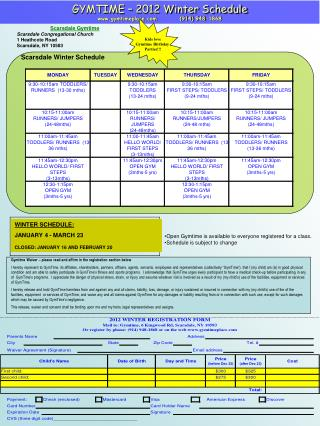 GYMTIME – 2012 Winter Schedule gymtimeplace          (914) 948-1868