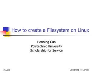 How to create a Filesystem on Linux