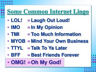 Some Common Internet Lingo