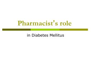Pharmacist ' s role