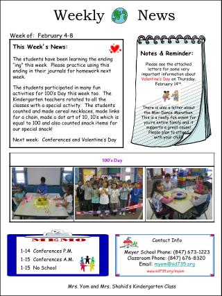 Weekly       News    Week of:  February 4-8