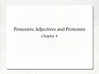 Possessive Adjectives and Pronouns Chapter 4