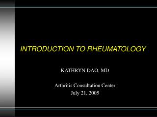 INTRODUCTION TO RHEUMATOLOGY